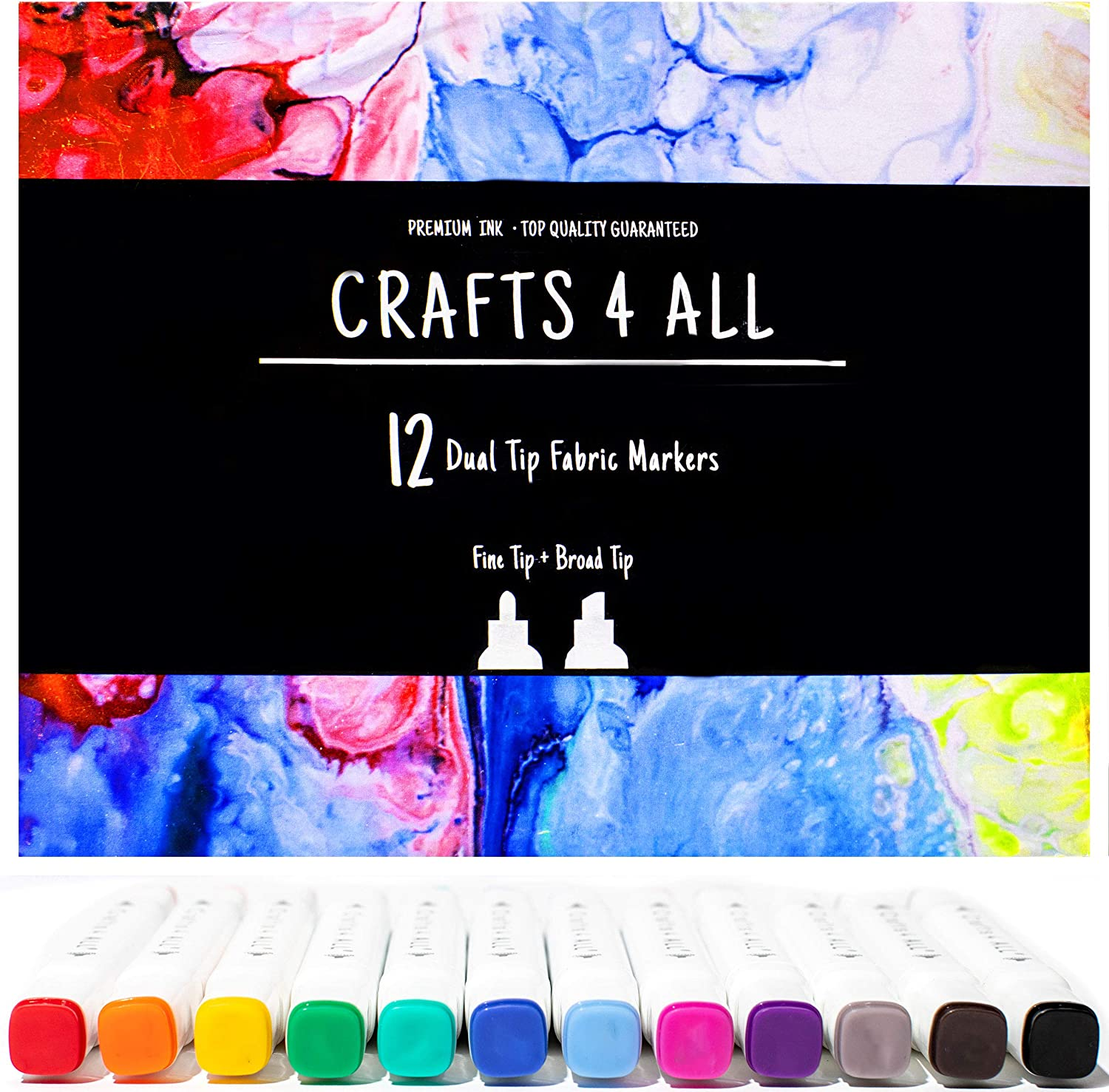 Crafts 4 ALL Fabric Markers Pens Permanent 12 Bright Dual TIP Fabric Paint, Child Safe, Water-Based & Non-Toxic. Markers Stained fine Writers Art