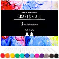 Fabric Markers Pens Permanent 12 Pack Dual Tip Minimal Bleed Rich Paint Color Pigment Fine Graffiti Fabric Pens by…