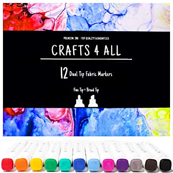Crafts 4 ALL 12 Bright Dual TIP Fabric Marker