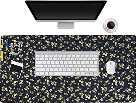 Beautiful Paris Eiffel Tower Design Pattern XXL XL Large Gaming Mouse Pad Mat Long Extended Mousepad Desk Pad Non-Slip Rubber Mice Pads Stitched Edges 29.5x15.7x0.12 Inch
