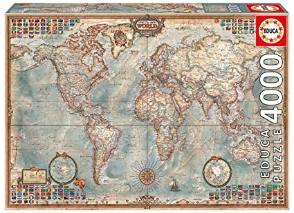 Amazon.com: 4,000 Piece Puzzle   The World Map: Toys & Games