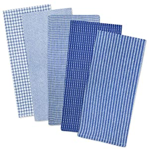 """DII Cotton Oversized Dish Towels Kitchen Gift, 20x 30"""" Set of 5, Absorbent Kitchen Towels for Everyday Cooking and Baking- Blue"""