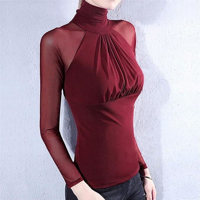 Mujer Camiseta Blusa Transparente Suéter de Cuello Alto Mangas Largas Elegante Moda Oficina Casual, ❤ Longra: Amazon.es: Ropa y accesorios