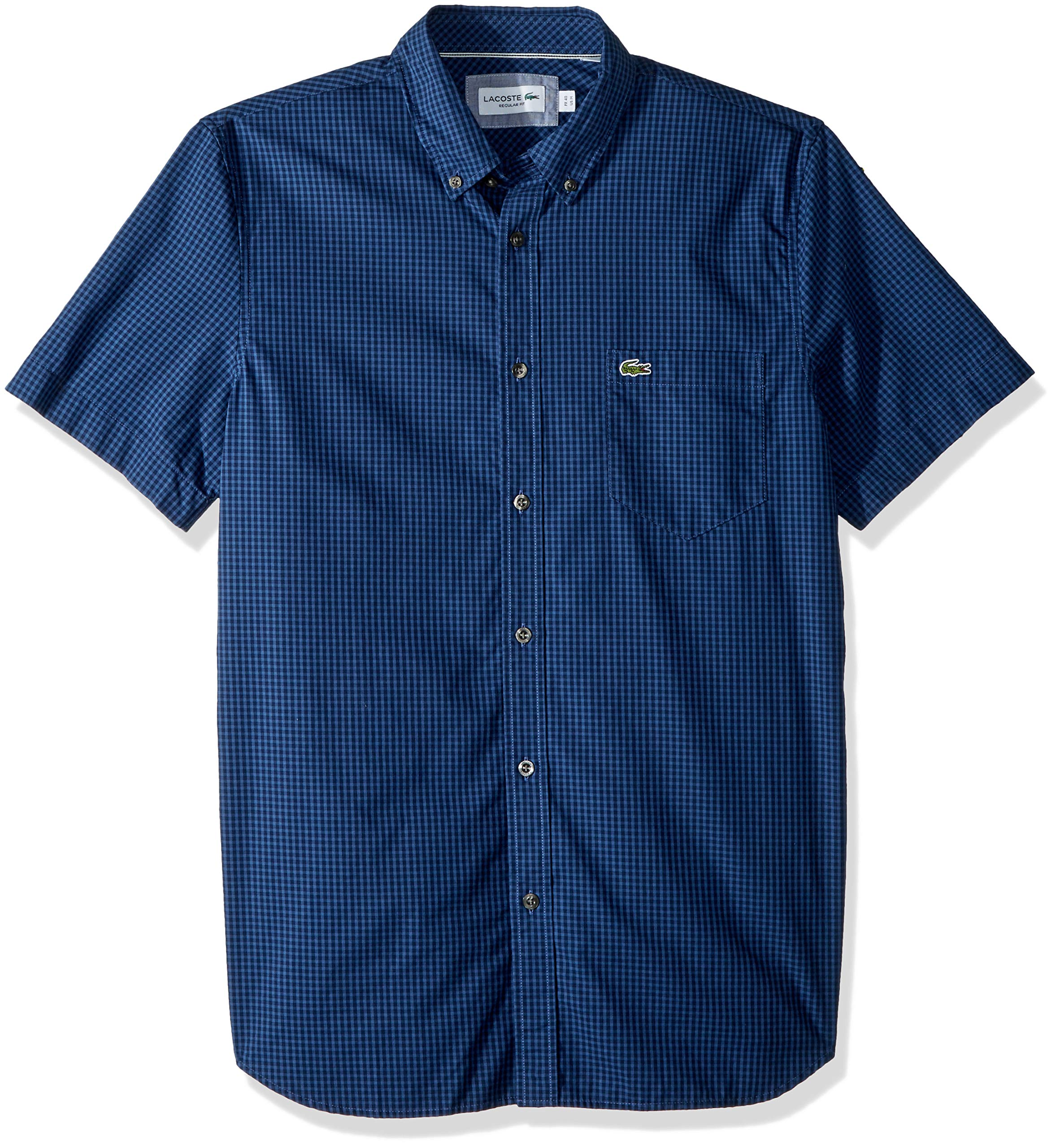 Lacoste Men's Short Sleeve REG FIT Gingham POPLIN Button Down, Navy Blue/Iodine, Large