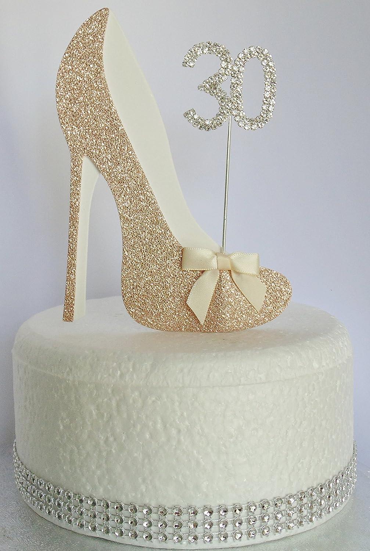 50 Cake Topper Numéro Tout Âge Anniversaire Paillettes Or Rose 16 18 30 40 50 60 70 80