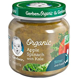 Gerber Purees Organic 2nd Foods Apple Spinach Kale Baby Food Glass Jar, 4 Ounce (Pack of 1)