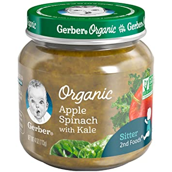 Gerber Purees Organic 2nd Foods Apple Spinach Kale Baby Food Glass