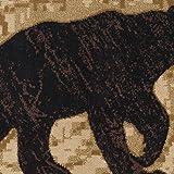 Universal Rugs Black Bear Novelty Lodge Pattern Red