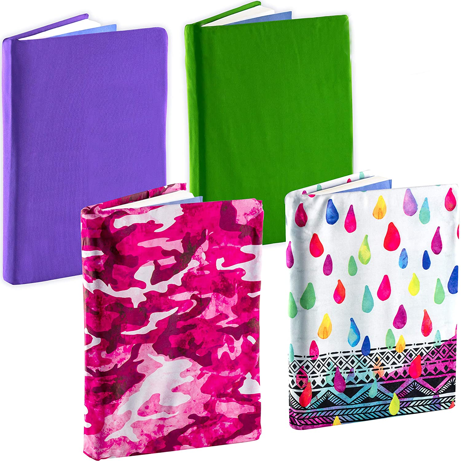 Fits Most Hardcover Textbooks up to 9 x 11 Bright 1 Adhesive-Free Jumbo Nylon Fabric Protectors are A Needed School Supply for Students. Stretchable Book Cover Color 4 Pack