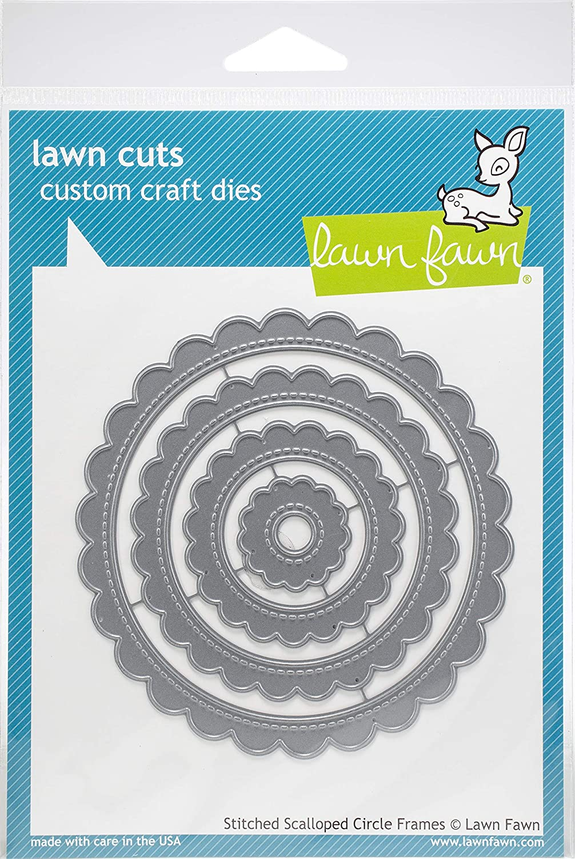 Lawn Fawn Lawn Cuts Custom Craft Die - LF1718 Stitched Scalloped Circle Frames