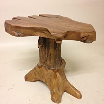 Natural Teak Root Wood Stump Coffee Table Amazoncouk Garden