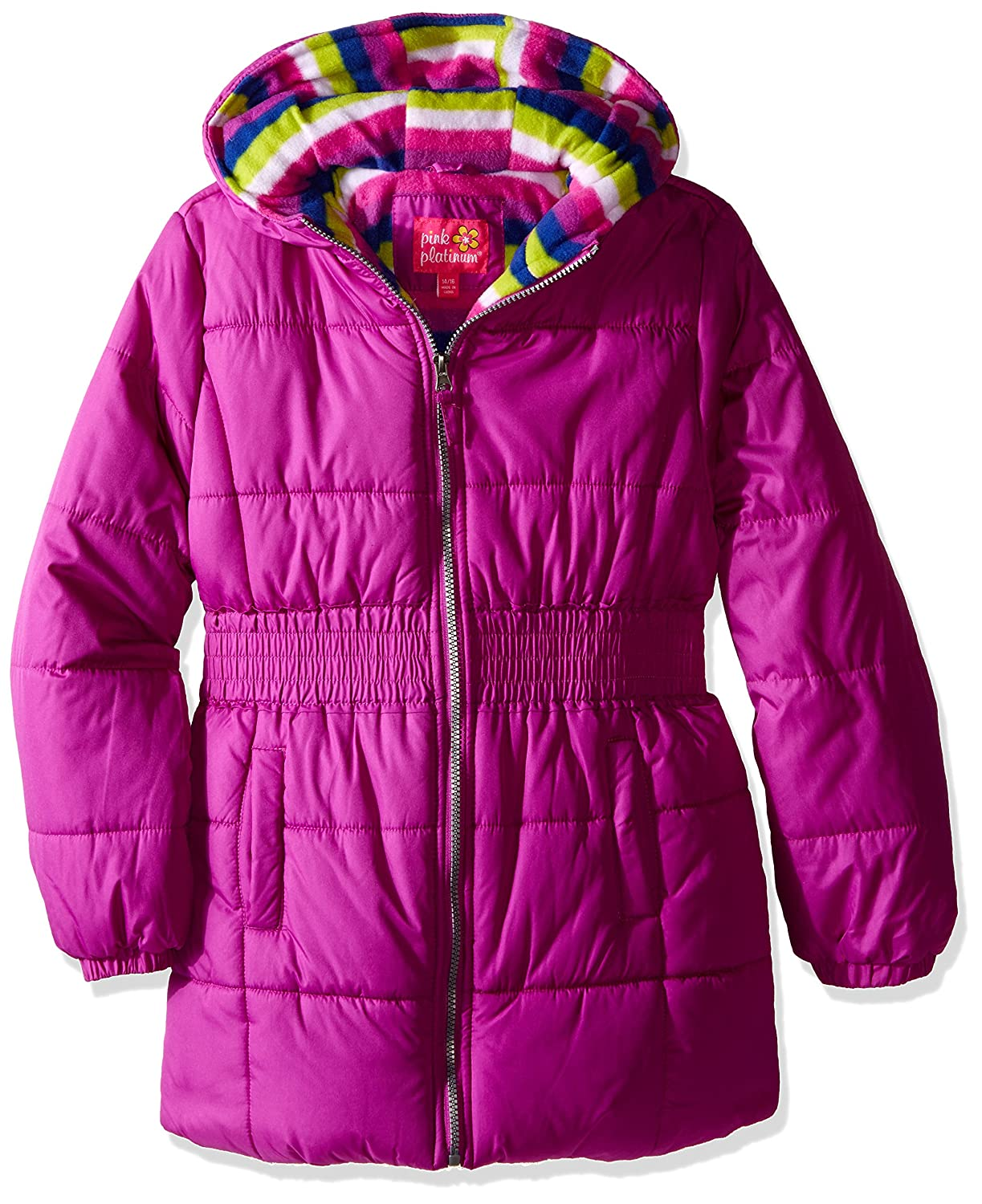 2d87e2cdf Pink Platinum Little Girls  Puffer Jacket with Stripe Lining and ...