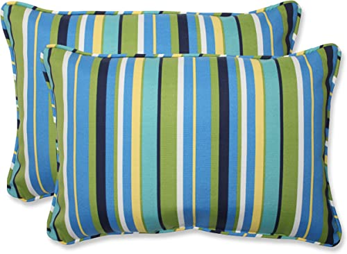 Pillow Perfect Outdoor Indoor Topanga Stripe Lagoon Oversized Lumbar Pillows, 24.5 x 16.5 , Blue, 2 Pack