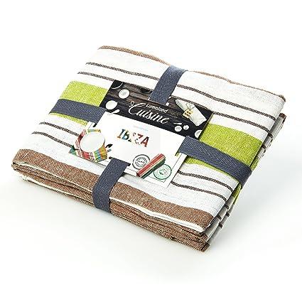 Lumaland Paños de cocina Serie Ibiza en cuatro colores. 4 piezas por juego.100