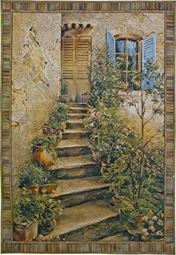 Tuscan Villa II by Roger Duvall Woven Tapestry Wall Art Hanging Rustic Italian Village Steps 100 Cotton USA Size 53×43