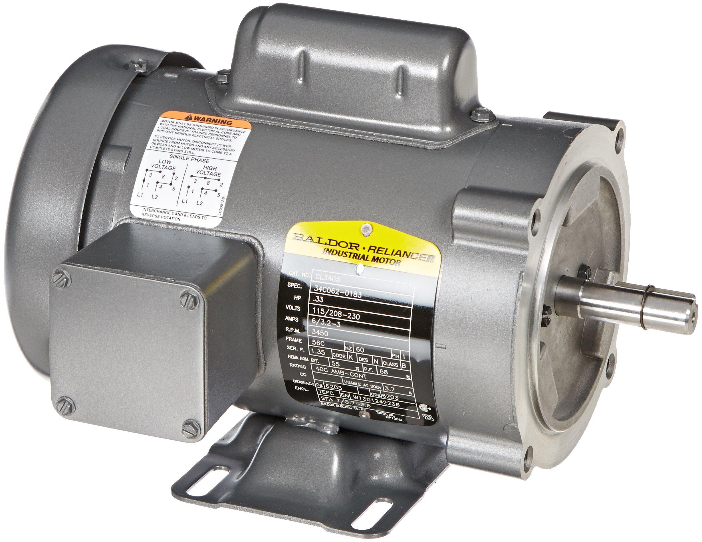 Baldor CL3405 General Purpose AC Motor, Single Phase, 56C Frame, TEFC Enclosure, 33/100Hp Output, 3450rpm, 60Hz, 115/208-230V Voltage