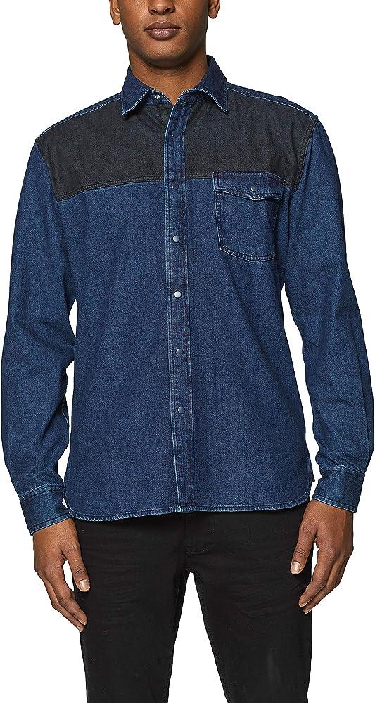 edc by Esprit 019cc2f007 Camisa Vaquera, Azul (Blue Dark Wash 901), Large para Hombre: Amazon.es: Ropa y accesorios