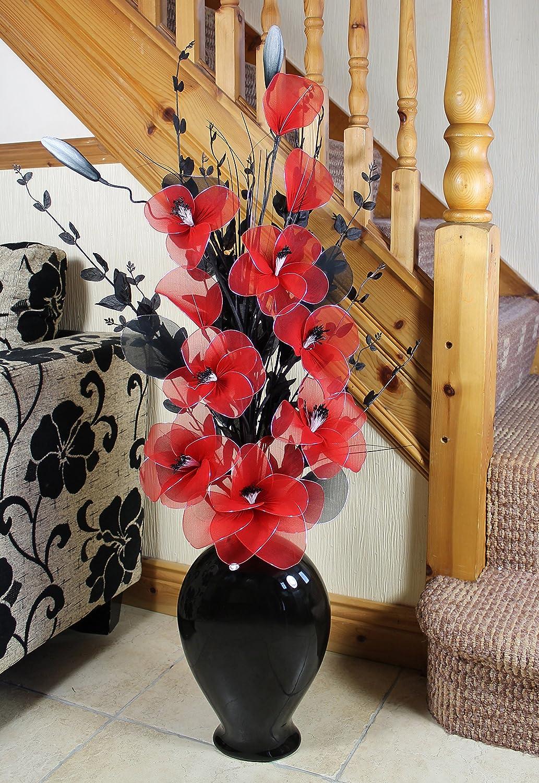 Flourish 797737 Vase de Sol en Forme de Poire avec des Fleurs artificielles Noires et Blanches 115cm, Polyester, Black White in Black, 20x40x110 cm