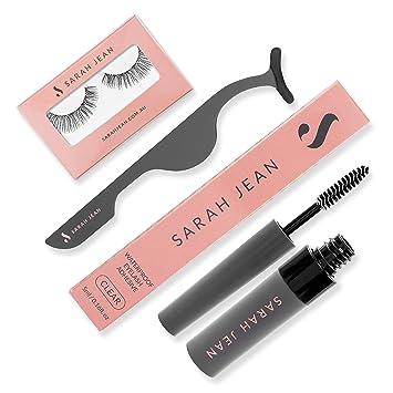 7775b2b539f False Eyelashes Set: Clear Glue With Mascara Brush For Easy Application,  Lash Tweezers &