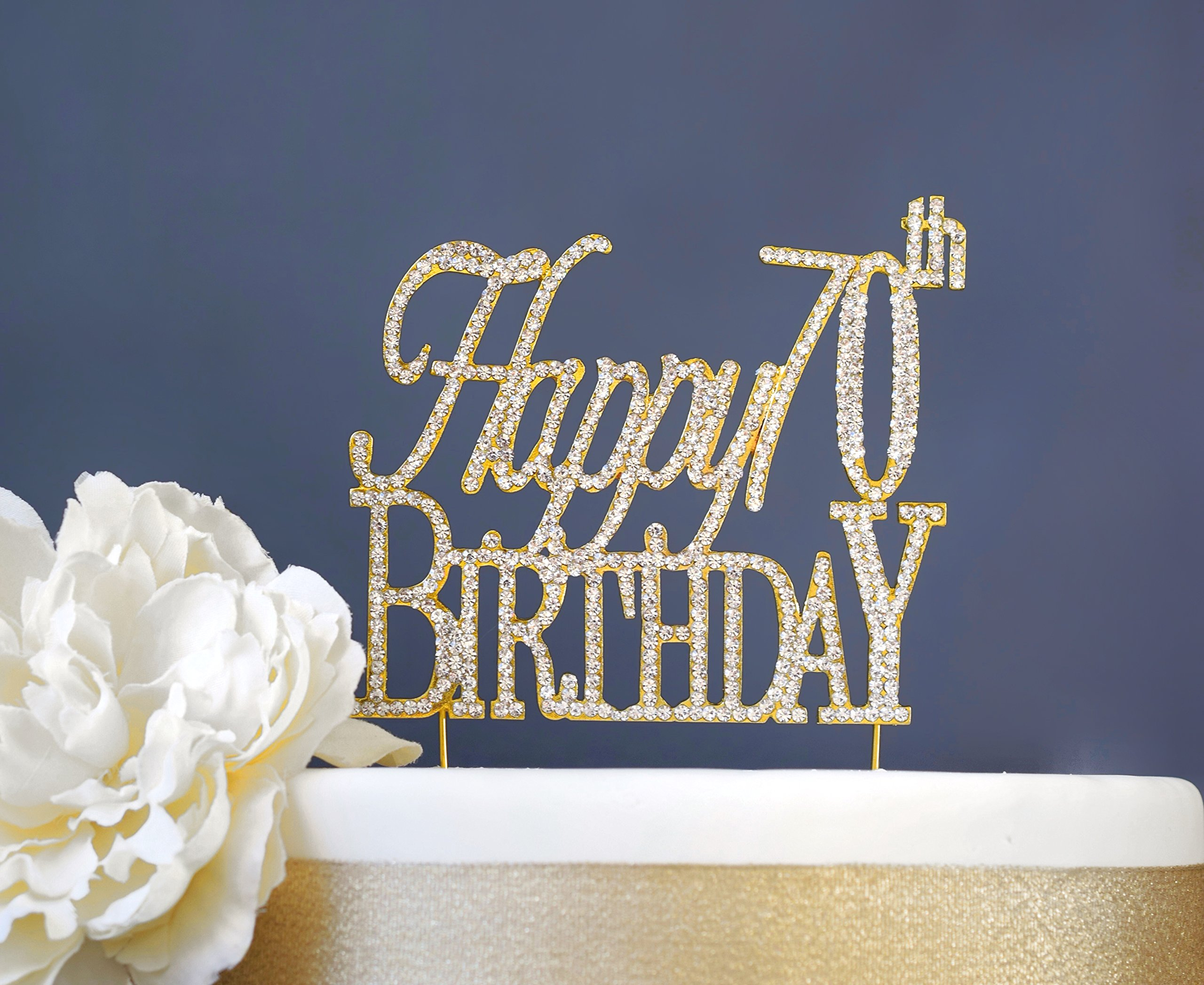 Happy 70th Birthday GOLD Cake Topper | Premium Sparkly Bling Crystal Rhinestone Gems | 70th Birthday Party Decoration Ideas | Quality Metal Alloy | Perfect Keepsake (Happy 70th Gold)