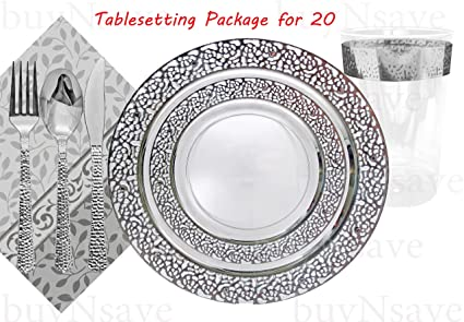 Amazon.com: Elegant Wedding Party Disposable Plastic Plates ...
