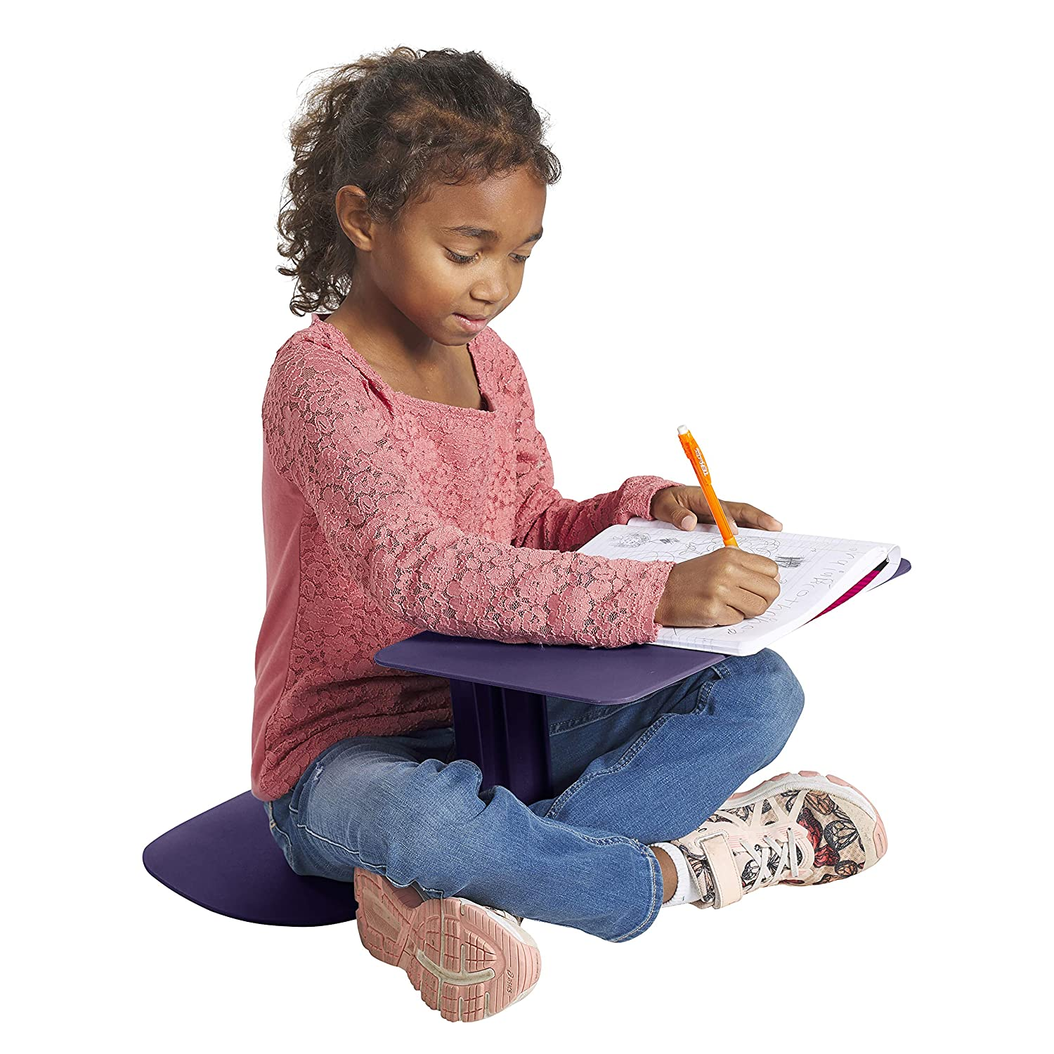 ECR4Kids The Surf Portable Lap Desk, Flexible Seating for Homeschool and Classrooms, One-Piece Writing Table for Kids, Teens and Adults, GREENGUARD [Gold] Certified, Eggplant