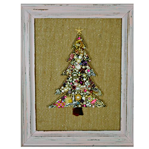 Amazon Com Shabby Pink Framed Vintage Jewelry Christmas Tree With