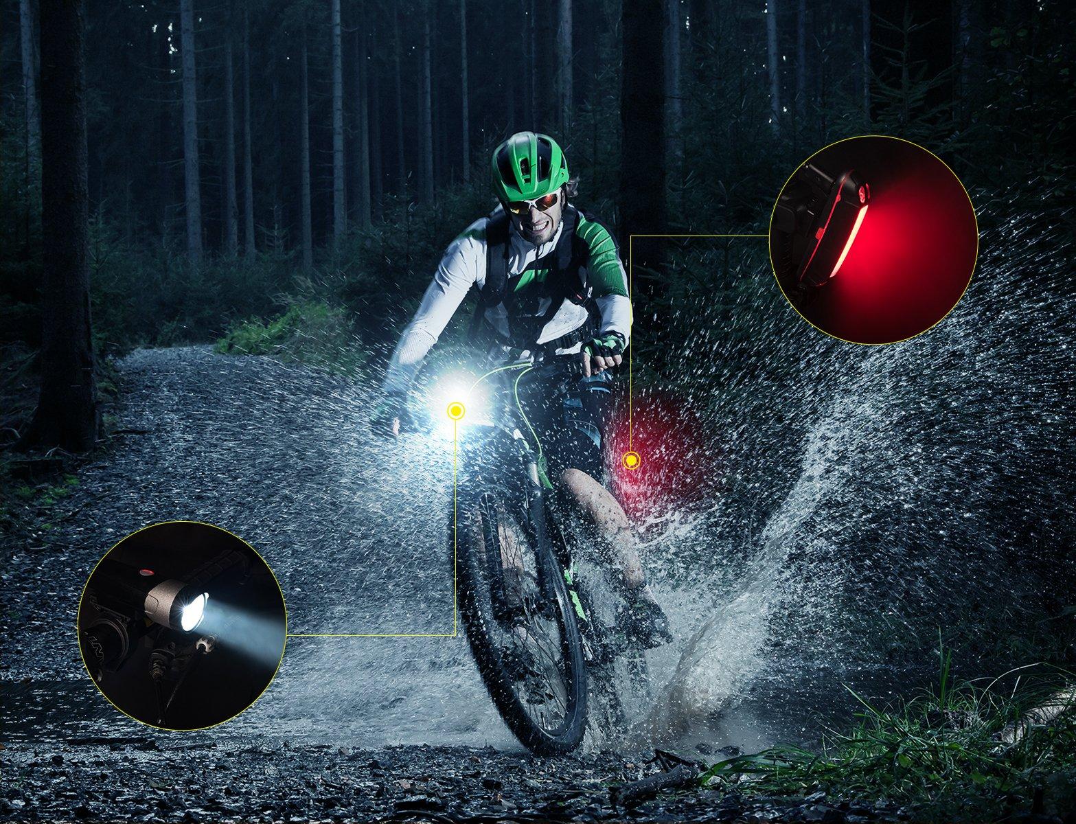 Taktik Super Bright Bike Lights Set Rechargeable - Safety 500 Lumens Front and Back Bicycle Lights 2000 mAh Waterproof LED Bike Light For Bike,Road Bike,Mountain Bike,Light Bike Night Rider by Taktik (Image #7)