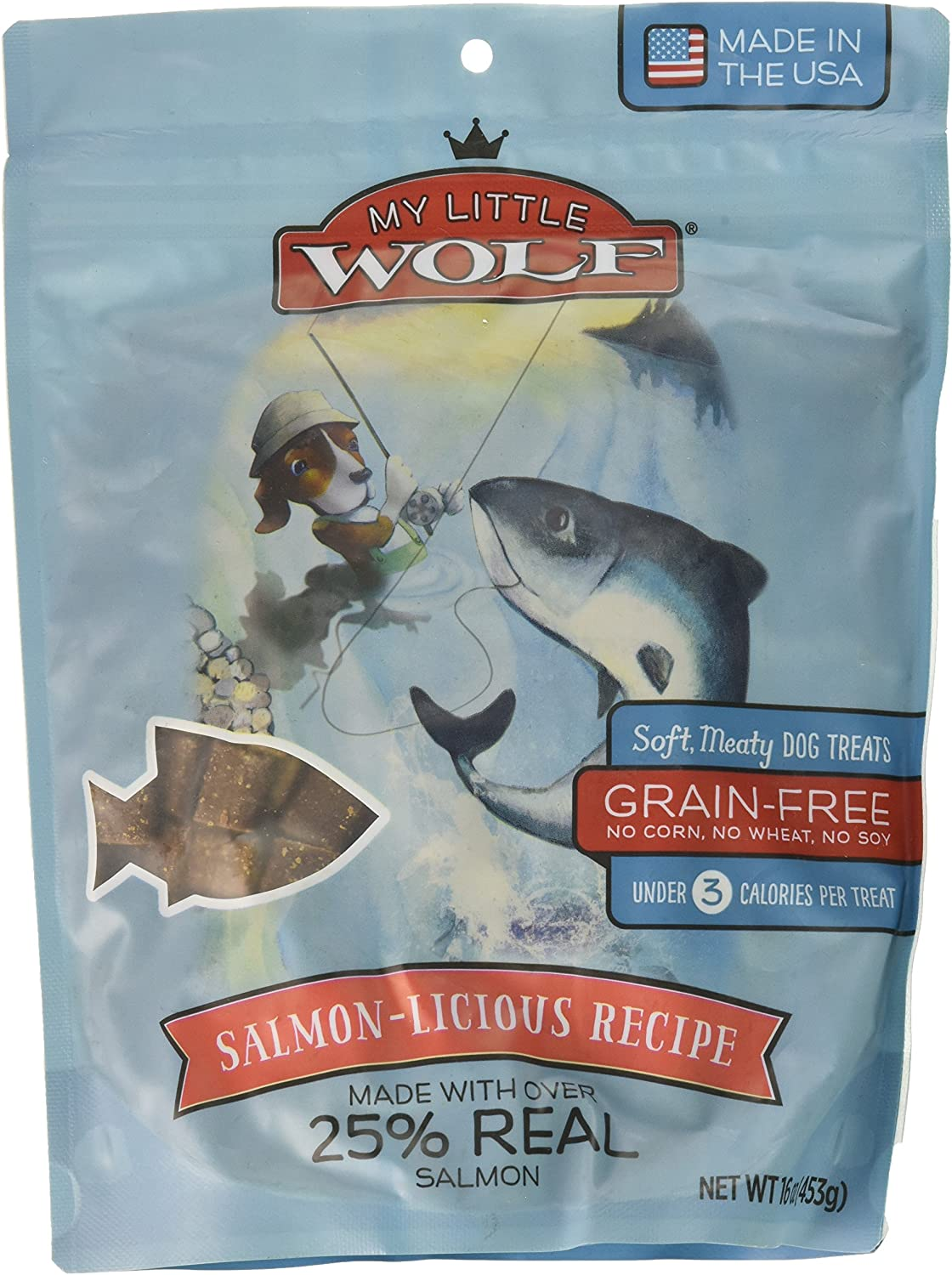 Waggers 012623910031 My Little Wolf Salmon 16 Oz Dry Pet Food, One Size