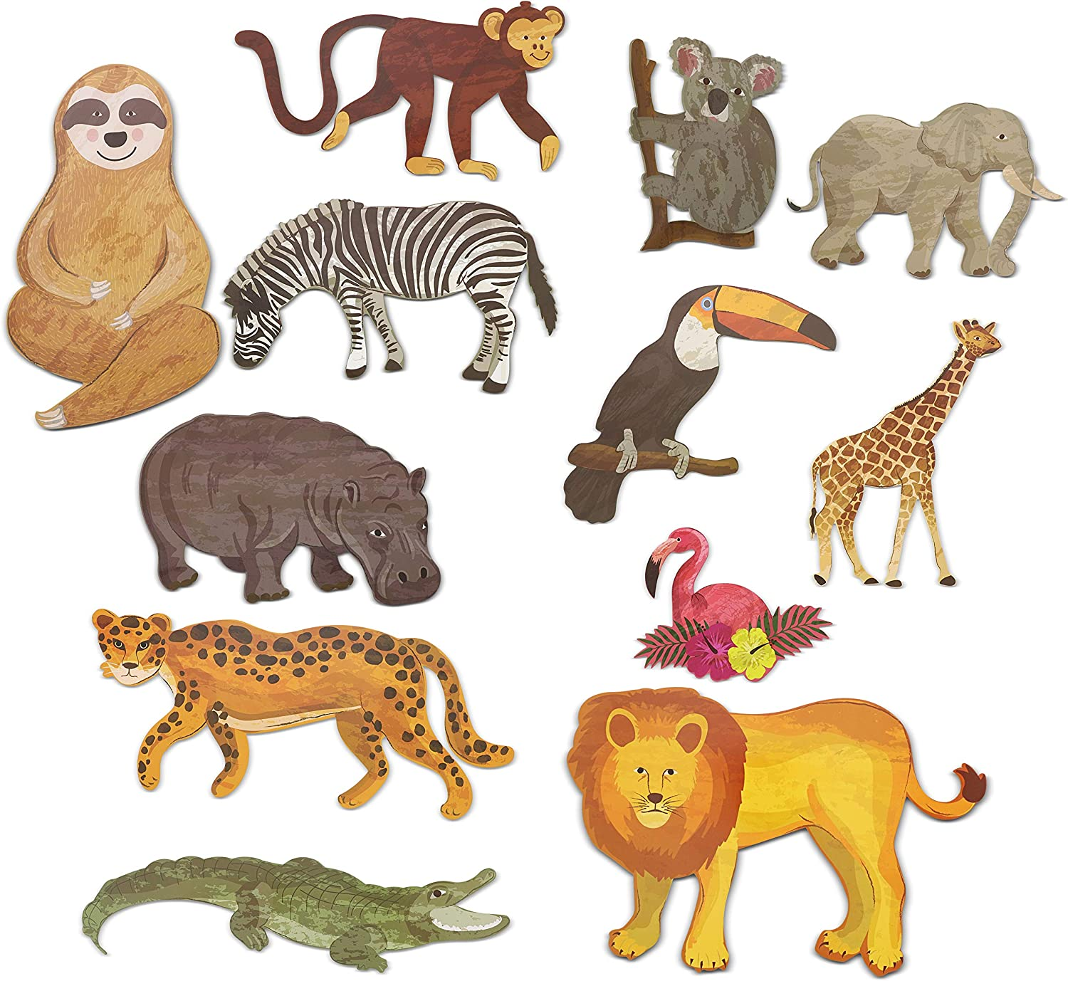 Jungle Animal Safari Paper Cutouts for Home and Party Decor (12-Count)