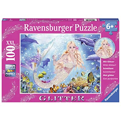 Ravensburger Mermaid and Dolphins Glitter 100 Piece Jigsaw Puzzle for Kids – Every Piece is Unique, Pieces Fit Together Perfectly: Toys & Games