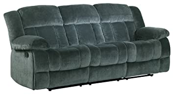 Homelegance 9636CC 3 Laurelton Textured Plush Microfiber Motion Reclining  Sofa, Gray