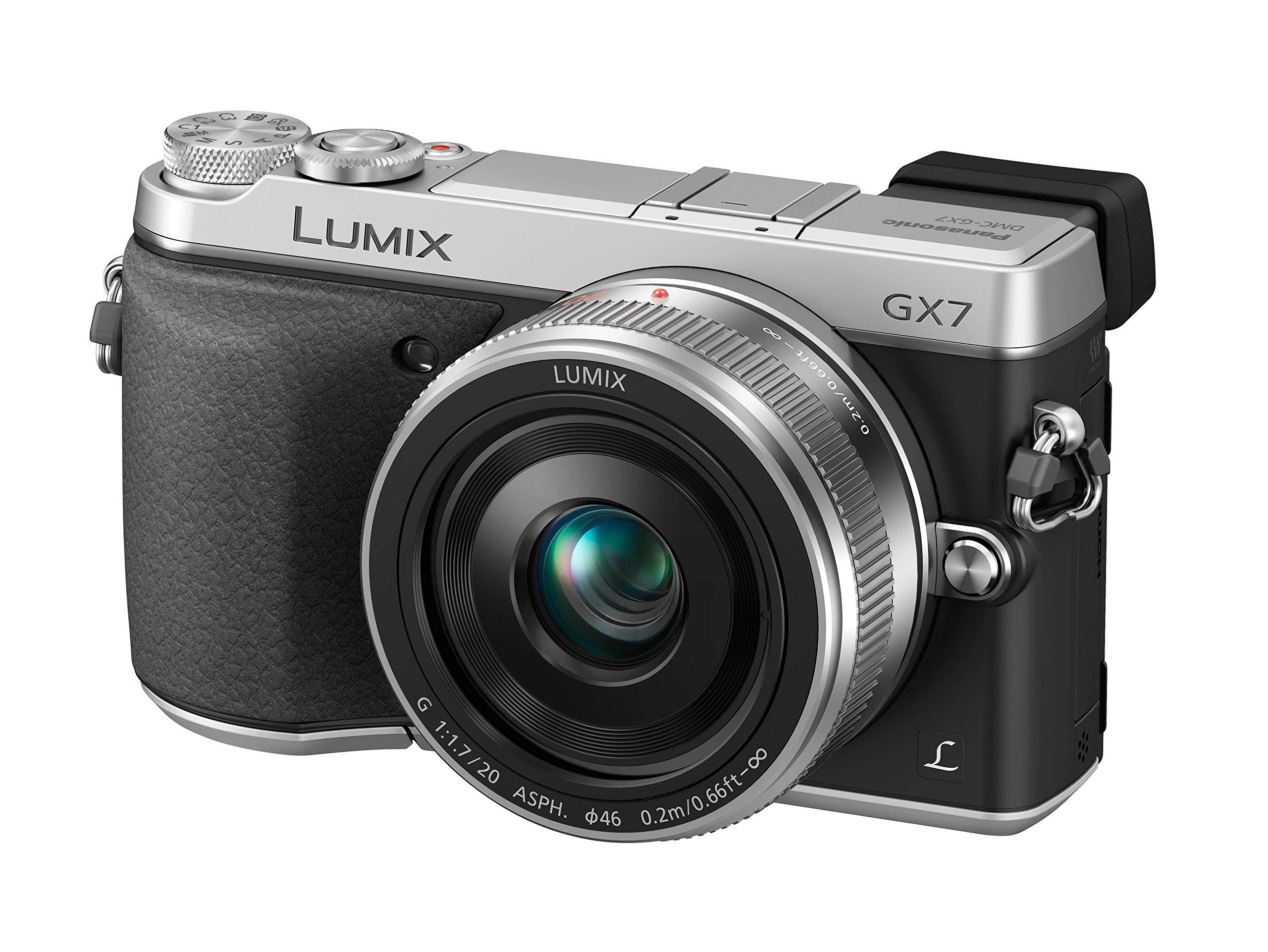 Panasonic DMC-GX7CEG-S Fotocamera Mirrorless, Lente LEICA, Obiettivo 20 mm, Micro 4/3, Wi-Fi, NFC, Argento product image
