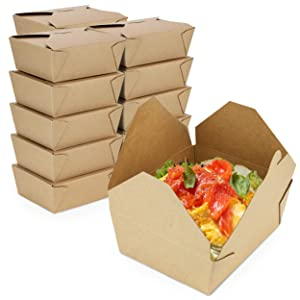 [50 Pack] 48 oz Paper Take Out Containers 6.8 x 5.5 x 2.5