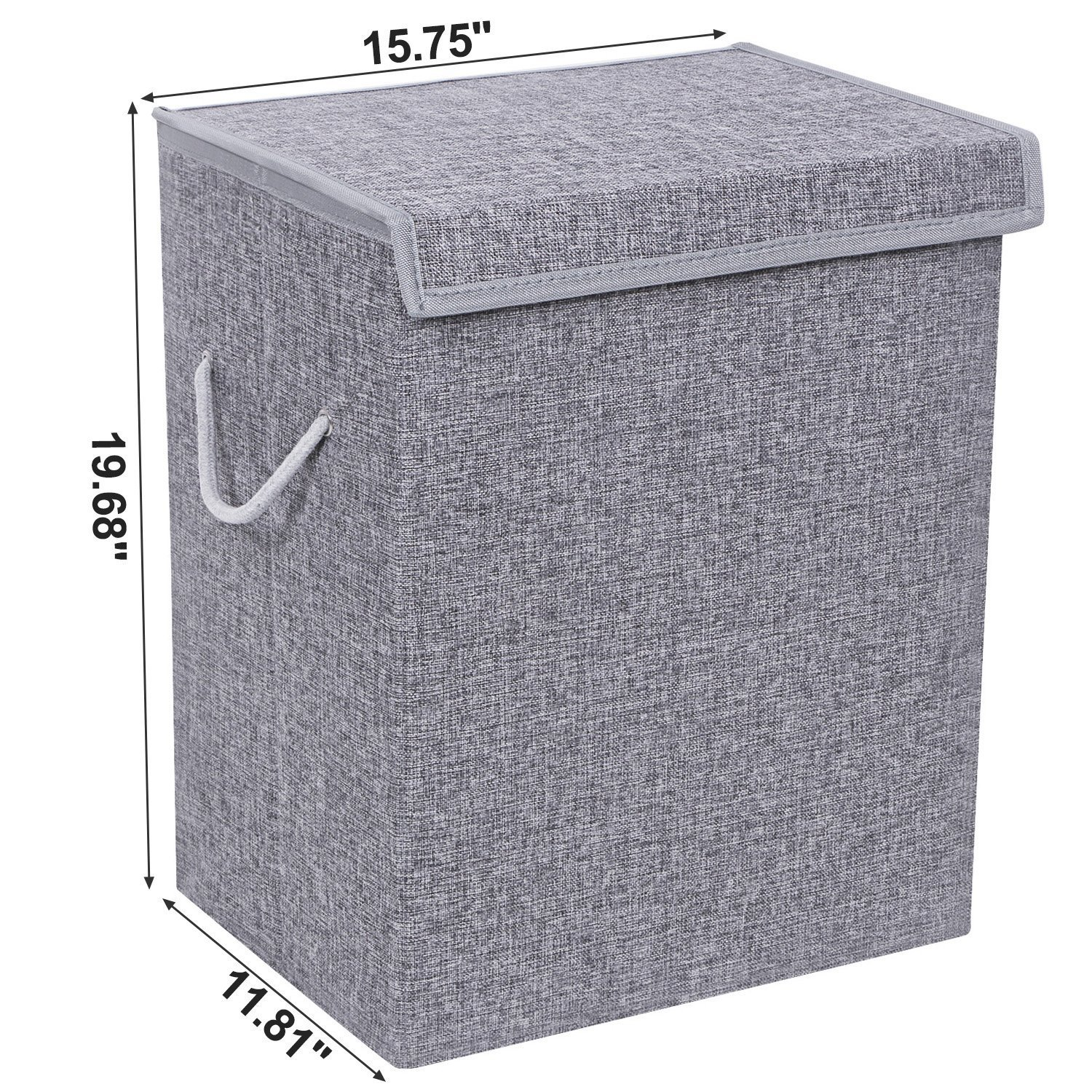 BEWISHOME Foldable Laundry Hamper,Large Laundry Basket Storage Bin for Clothes,Dirty Clothes Hamper w/Lids/Velcro,Grey Hamper with Removable liners & Sturdy Handles Grey YYL01G by BEWISHOME (Image #3)