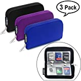 Memory Card Holder, HONSKY 3 Set 22 Slot SD CF SDHC SDXC MMC Micro SD SecureDigital Memory CompactFlash Cards Carrying Cases & Sleeves Bags Media Storage & Organization - Black, Purple, Blue