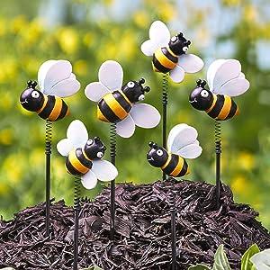 The Lakeside Collection Bobbing Springs Bumble Bees Garden Stakes - Honeybee Garden Accents - Set of 6