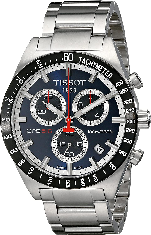 Tissot T0444172104100 - Reloj cronógrafo de caballero de cuarzo con correa de acero inoxidable plateada