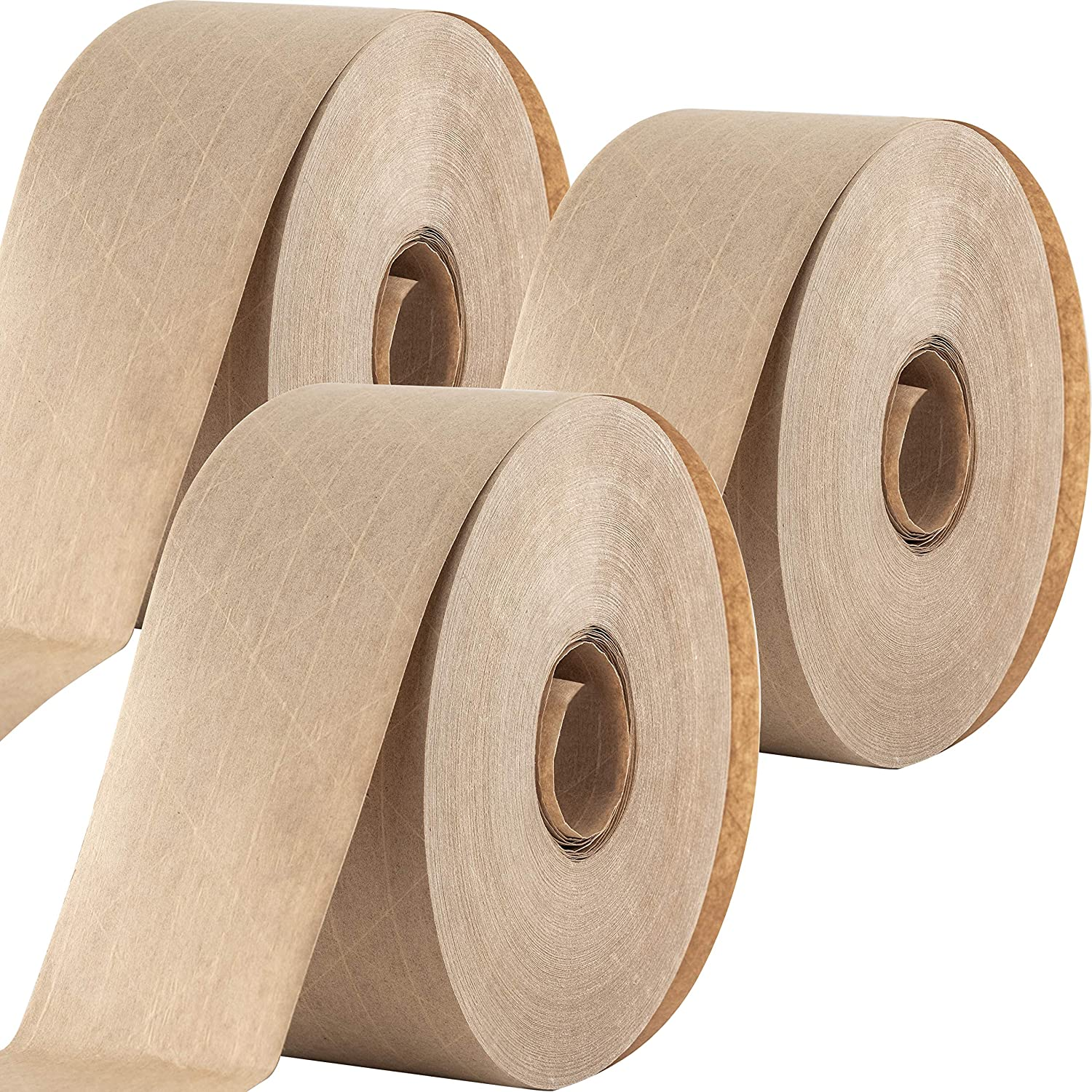 Ultra Durable Water-Activated Tape for Secure Packing 3 Pk. 2.75 Inch, 450 Ft Brown Kraft Gum Tape Provides Heavy Duty Adhesive for Packaging and Shipping. Fiberglass Reinforced for Extra Strong Bond.