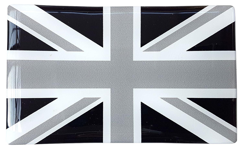 Union Jack Drapeau Britannique Noir & Blanc Sticker Badge Gel 3D Résine Dôme 1Lot de 104mm x 64mm