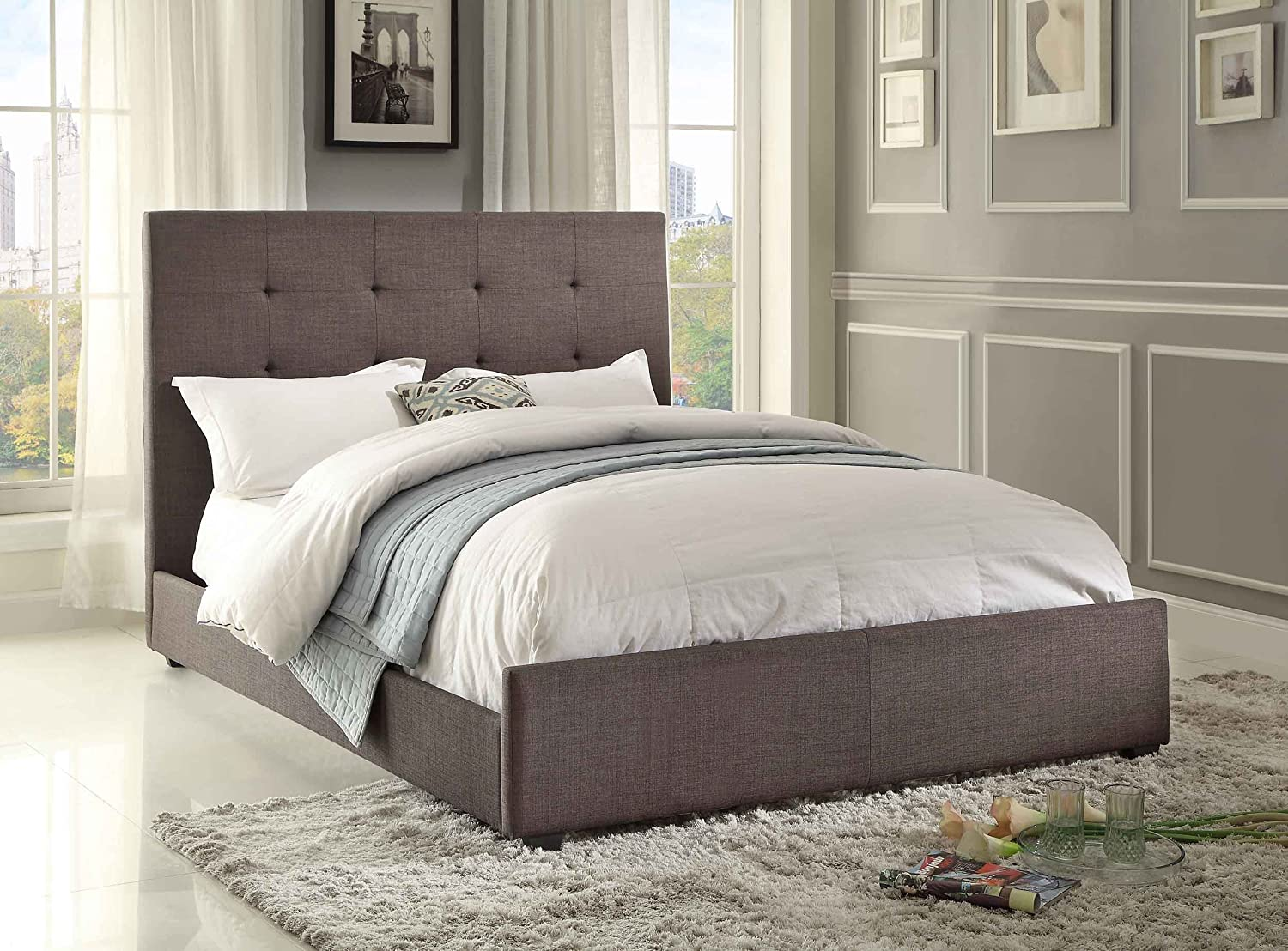 Amazon.com: Homelegance 1890N 1 Queen Size Upholstered Bed, Grey Fabric:  Kitchen U0026 Dining
