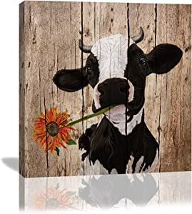 Colla Canvas Wall Art Rustic Cute Cow Sunflower Black and Brown Vintage Country Wood Background Modern Painting Picture for Living Room Home Decor Giclee Print Gallery Wrap Framed 12x12 Inch