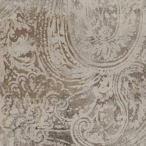 Amazon Com Greystone Gray Beige White Paisley Print Upholstery