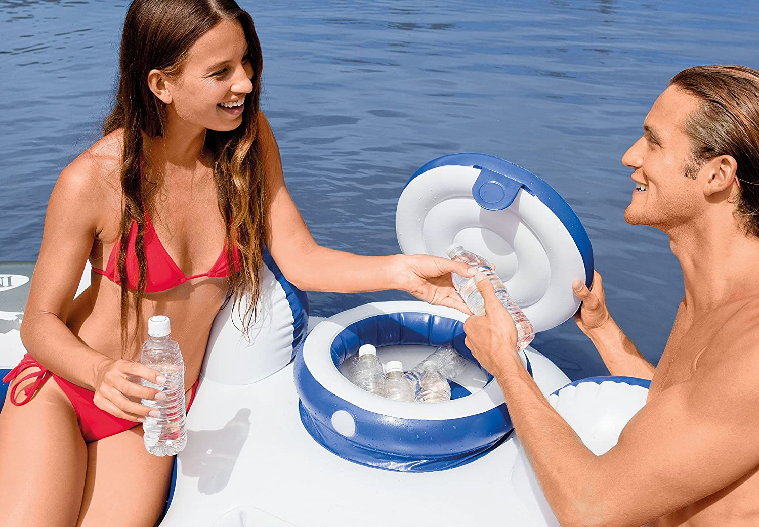 4 Pack 2 Person Cooler Tube Intex River Run Connect Inflatable Water Raft