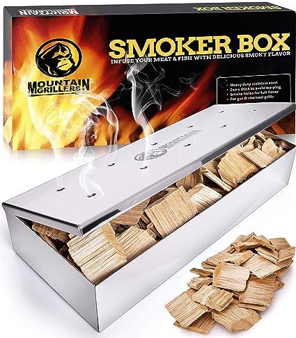 Edelstahl Räucherbox Smokerbox BBQ Grillzubehör für Gasgrill Kugelgrill Smoker