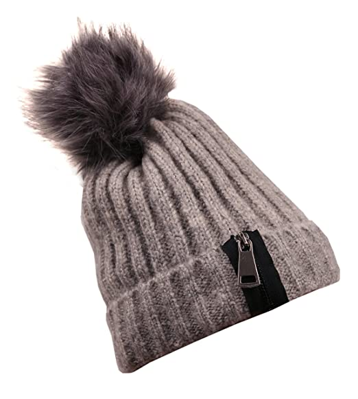 5fbaeb170c6 LL Thick Cable Knit Fuzzy Faux Fur Pom Pom Fleece Lined Skull Beanie Cap  Light Grey