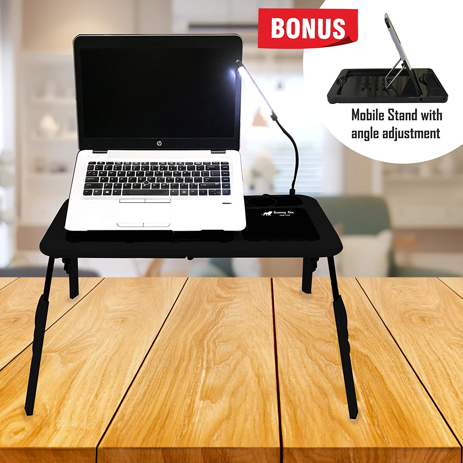 Sunny Gx Foldable Laptop Table - Laptop Desk for Bed, 4 Different Height Adjustments, 2 Cooling Fan, LED Light With Brightness Control, Foldable Bed Desk For Laptop, Writing in Sofa,Couch Wood, Black