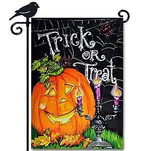 LAYOER Home Garden Flag 12.5 x 18 Inch Halloween Jack o Lantern Pumpkin Candle Vertical Double Side Courtyard Outdoor Decoration