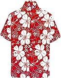La Leela Hawaiian Shirt Men Short Sleeve Front-Pocket  Printed Hibiscus flora