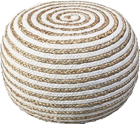 L.R Resources POUFS99703NTW2014 Corcovado Chipper Braided Pouf Ottoman 14 x 20 Natural//White LR Resources